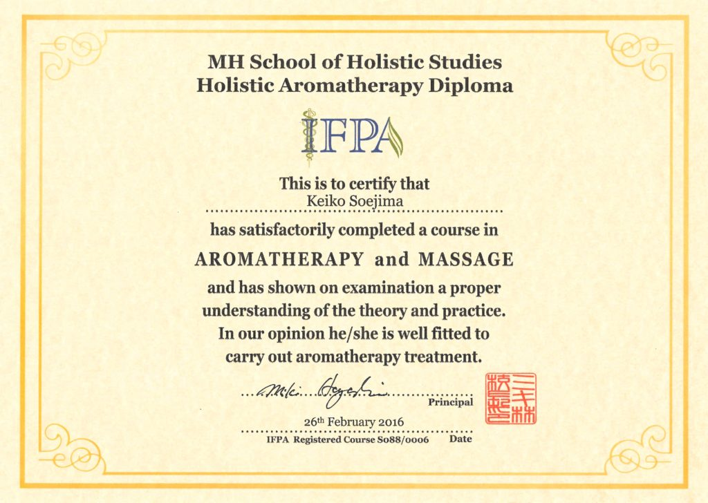 Diploma of IFPA Aroma Therapist